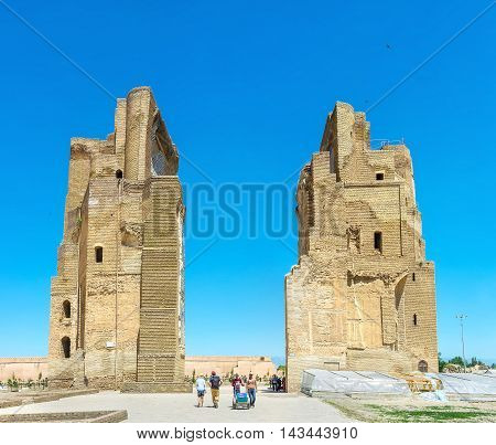SHAKHRISABZ UZBEKISTAN - MAY 2 2015: The ruins of the great portal of Ak-Saray Palace the place of historic and tourist interest on May 2 in Shakhrisabz.