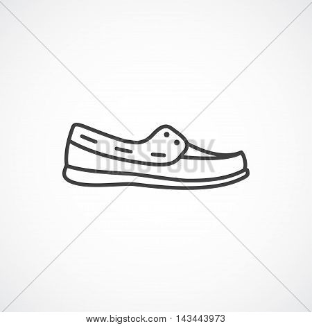 Men's shoes moccasin loafer Vector line icon