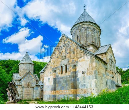 The renovated Haghartsin Monastery located adjacent to Dilijan in mountains Armenia.