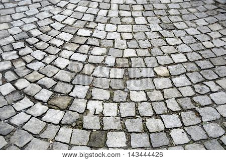 Old cobblestones road surface (Albanian sidewalk) background