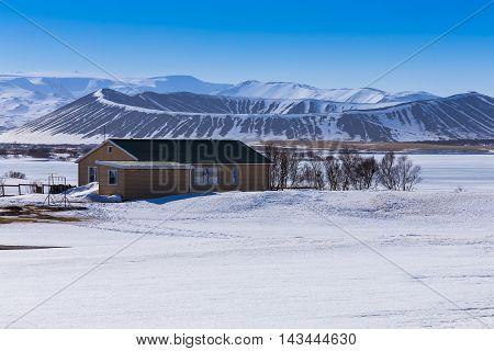 Winter Scene in Myvatn Volcano, Iceland natural landscape