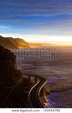 Aerial Of Australian Grand Pacific Drive, Sea Cliff Bridge