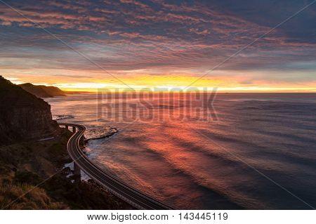 Sea Cliff Bridge On Sunrise