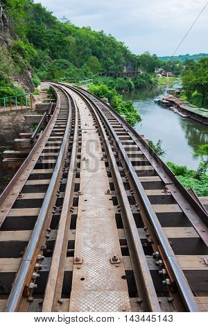 The Death Railway with view of Khwae Noi River located at Kanchanaburi Thailand.