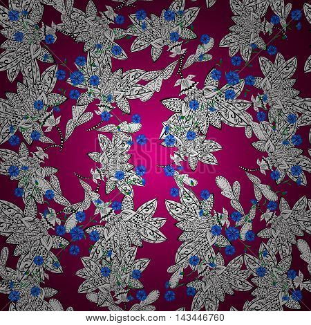 Ornaments from the colorful mandala blue pink and white a seamless pattern on a round gradient purpule background.