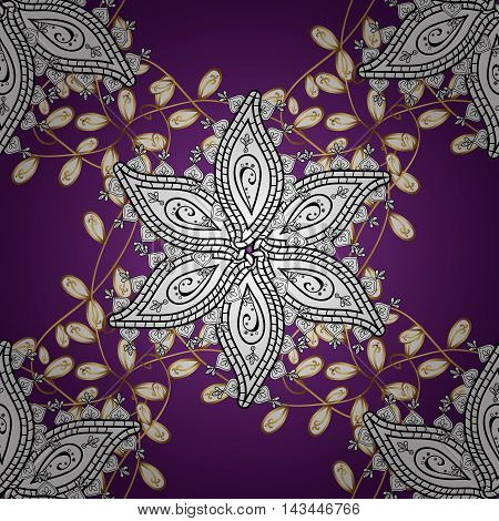 Vintage pattern on lilac round gradient background with golden elements. Vector illustration