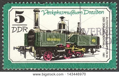 MOSCOW RUSSIA - CIRCA JUNE 2016: a post stamp printed in DDR shows a Steam locomotive