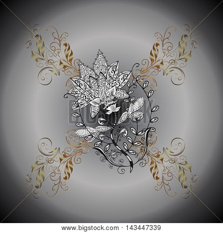 Round gray gradient background with doodles flower and golden floral elements.