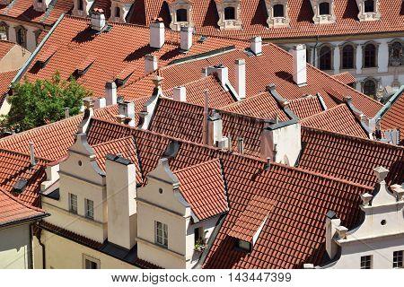 Tile roofs of the old city Prague Czech Republic