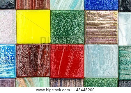 Square Glass Multicolored Smalt Mosaic Closeup