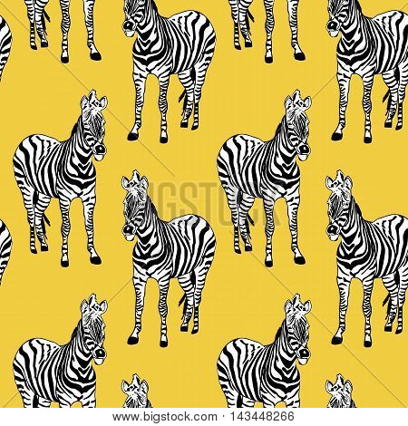 Abstract hand painted seamless animal background. Zebra pattern on yellow. Vector.