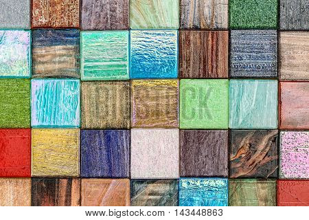 Little Square Glass Multicolored Tiling Mosaic Background