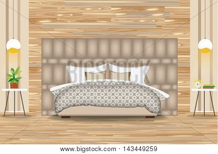 Modern Style Interior Design Vector Illustration.Bed in Front of Parquet Wall. Side Tables, Chandeliers, Artwork.Cartoon Bedroom, Parquet Floor. Elevation. Bedding and Furniture.