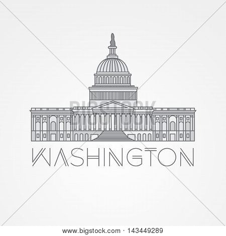 Washington DC, US Capitol Building. Vector landmark. Modern linear minimalist icon. One line sightseeing concept. Front view.