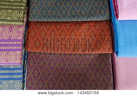 Traditional patterns fabric of sarong in Thailand