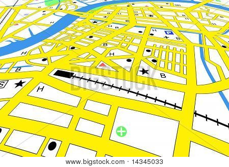 Streetmap of a generic city with no names