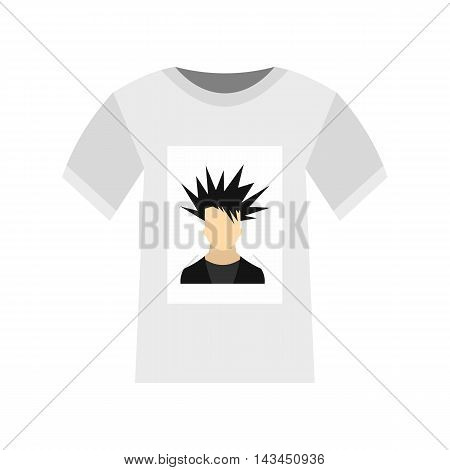 Printing photo on t-shirt icon in flat style isolated on white background. Clothing symbol