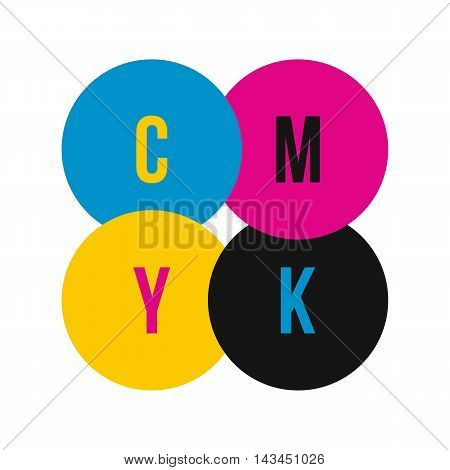 CMYK color profile icon in flat style isolated on white background. Paint symbol