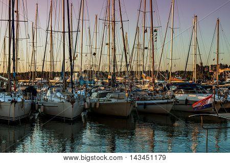 Boats in marina in Pula Istria Croatia. A very beatiful scene