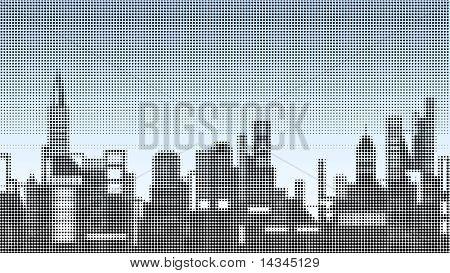 Halftone illustration of a city skyline