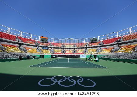 RIO DE JANEIRO, BRAZIL - AUGUST 5, 2016: Main tennis venue Maria Esther Bueno Court  of the Rio 2016 Olympic Games at the Olympic Tennis Centre