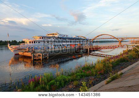 RYBINSK RUSSIA - JULY 21 2016: Cruise three decked ship