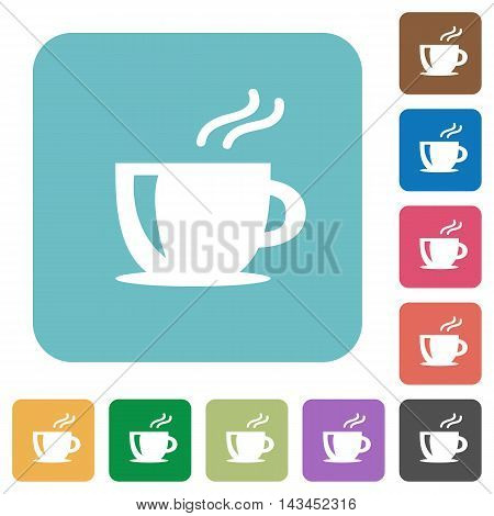 Flat cappuccino icons on rounded square color backgrounds.