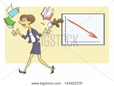Woman quitting her job because of bad business indicators. Business crisis situation in the office.