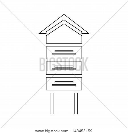 Wooden beehive icon in outline style isolated on white background