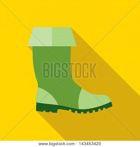 Rubber boots icon in flat style with long shadow. Shoes symbol