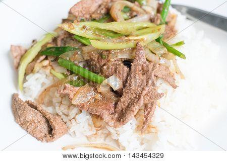Fried Stir Pork Liver with Sweet Pepper Thai food