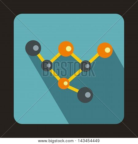 Molecules icon in flat style with long shadow. Particles symbol