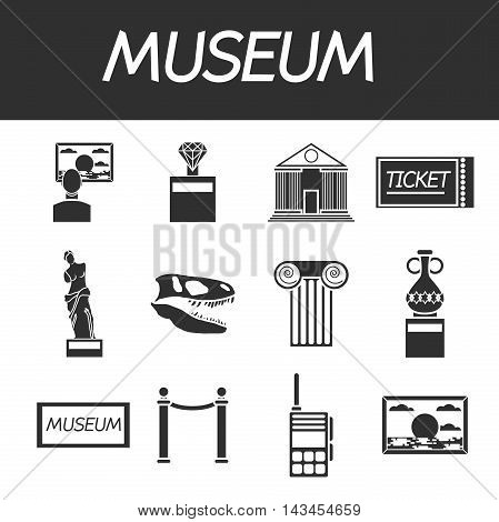 Museum icons set of sign canvas barrier isolated vector illustration