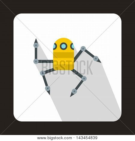 Robot spider icon in flat style with long shadow. Technology and test symbol