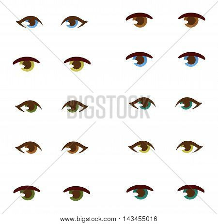 Set of human real different open eyes huge size clean attractive. Young face beauty human eye optical, eyebrow element vector. Eyeball care look human eye detail person medical focus.