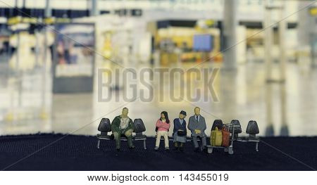 abstract mini passengers waiting at the airport - can use to display or montage product or concept photo