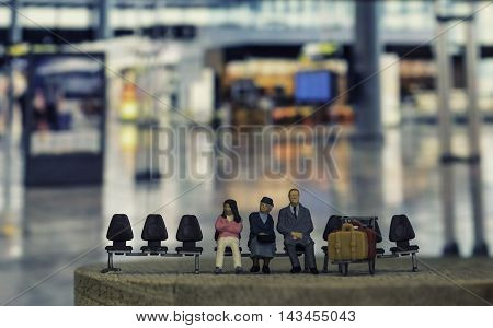 abstract view of passenger wait for a plane at the airport on vintage filter - can use to display or montage product