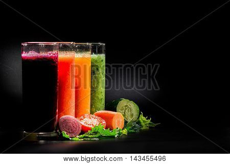 Various Smoothies Over Black