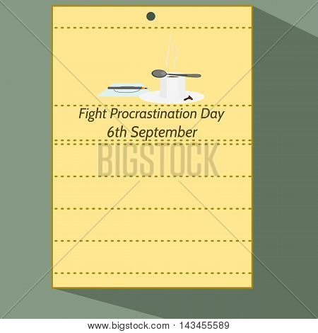 Fight Procrastination Day - Stylized calendar page of 6th september with pencil on letter, cup of coffee. Colorful cartoon illustration.