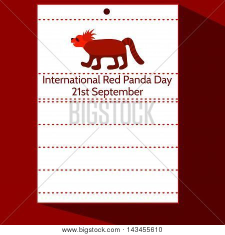 Calendar letter with animal and inscription International Red Panda Day 21st September