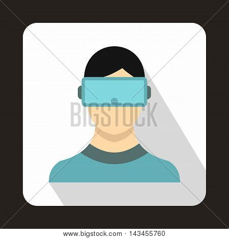 Virtual reality glasses icon in flat style with long shadow. Gadget symbol