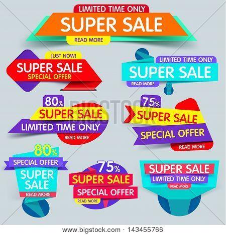 Super sale banner. Sale and discounts. New offer. Set of Website Banner.