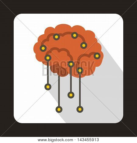Sensors on human brain icon in flat style with long shadow. Research symbol