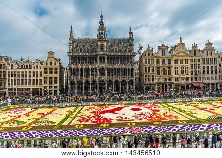 BRUSSELS - AUGUST 2016 : Floral Carpet in Grand Place on August 13 2016 in Brussels. This event takes place every 2 years; in 2016 the design was chosen to celebrate the 20