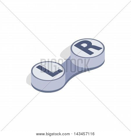 Storage container for lenses icon in isometric 3d style isolated on white background. Vision symbol