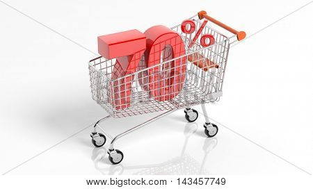 3D rendering of shopping cart trolley with 70 percent sale on white background.Isolate