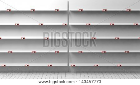 3D rendering of empty silver shelves in supermarket with price tags
