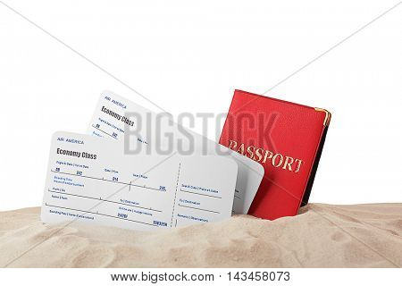 Passport and tickets in sand on white background