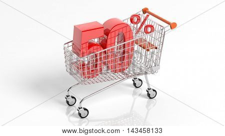 3D rendering of shopping cart trolley with 50 percent sale on white background.Isolate