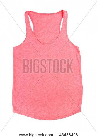 Pink sleeveless shirt isolated on white